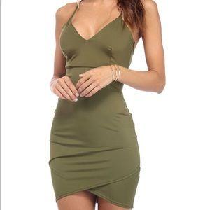 Army green body con mini dress